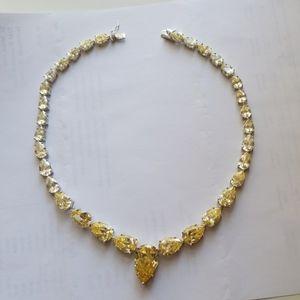 Zirconia Canary yellow diamond necklace